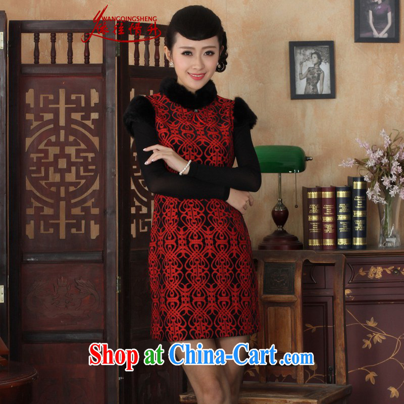 According to the conditions in Winter spring new improved Chinese qipao lace stitching sleeveless dresses beauty skirt such as figure 2 XL