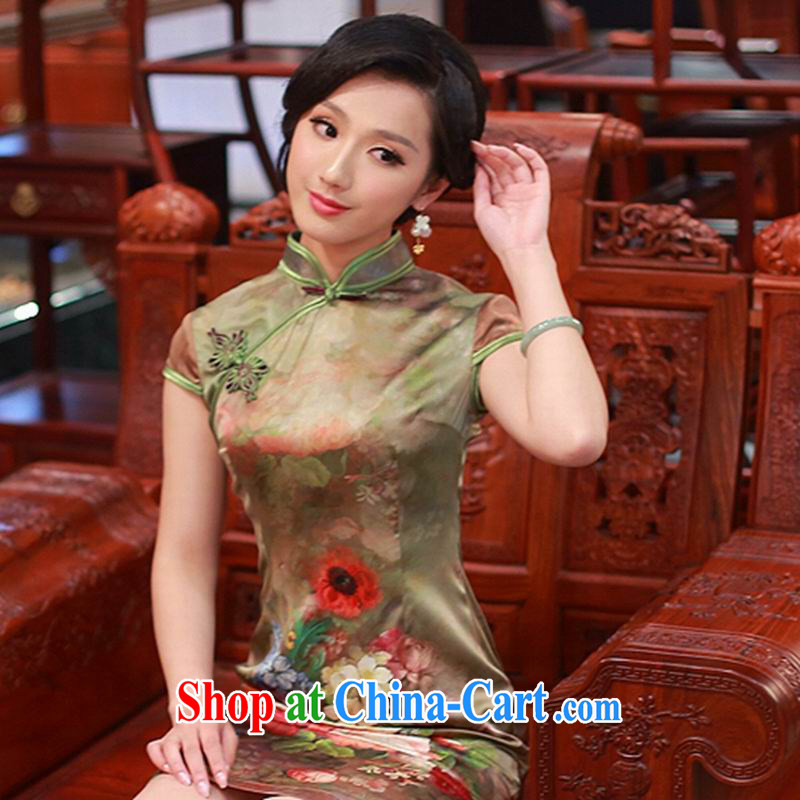 2015 new summer silk dos santos the Code women upscale dresses heavy really Silk Cheongsam dress 4319 - 1 color XXL
