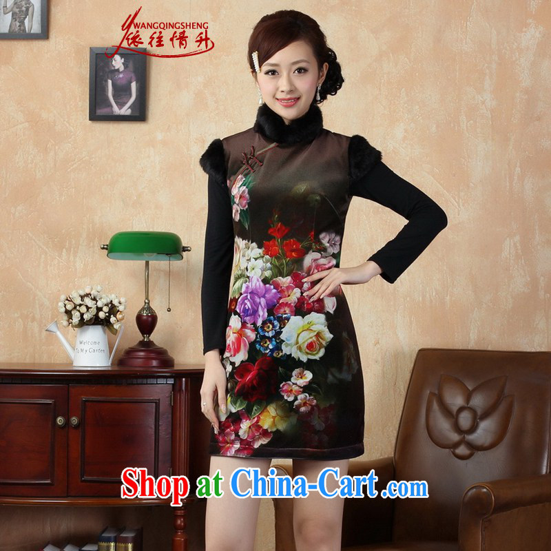 In accordance with the situation in winter improved Chinese qipao, for poster classical-tie sleeveless dresses beauty dress - A black 2 XL