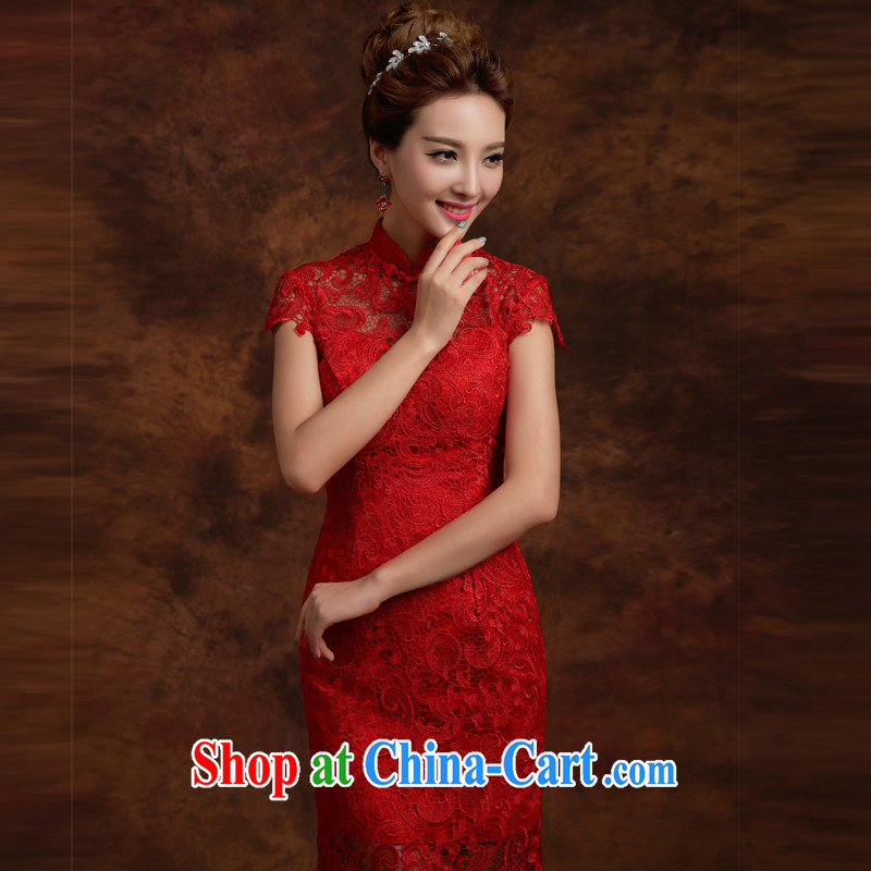 Qi wei served toast summer 2015 New Red lace bridal wedding dresses toast serving modern improved cheongsam crowsfoot toast wedding crowsfoot long cultivating ceremony red XXL
