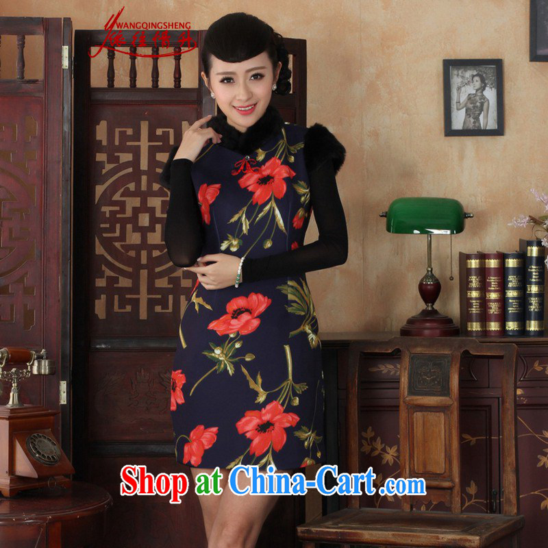 In accordance with the situation in winter new Chinese qipao retro improved the collar flower stitching cultivating a sleeveless cheongsam dress as figure 2 XL