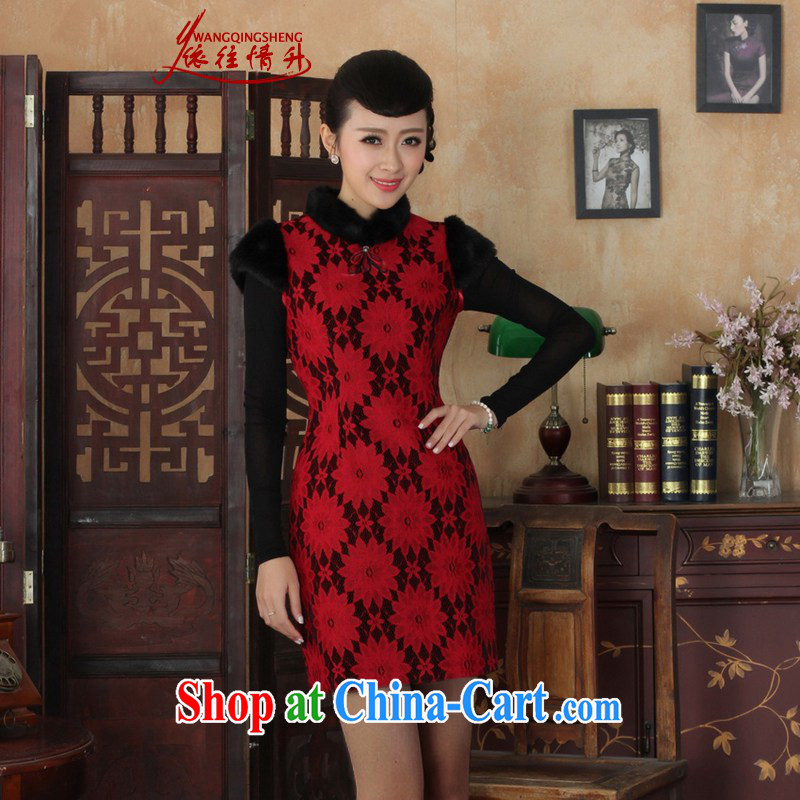 In accordance with the conditions and in winter New Tang with improved qipao and collar lace stitching cultivating a sleeveless cheongsam dress as figure 2 XL