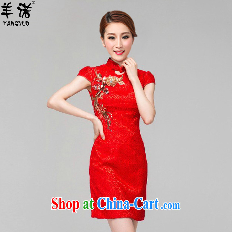 Sheep, summer 2015 new retro embroidery flower red bridal wedding toast clothing qipao QP 003 red XL
