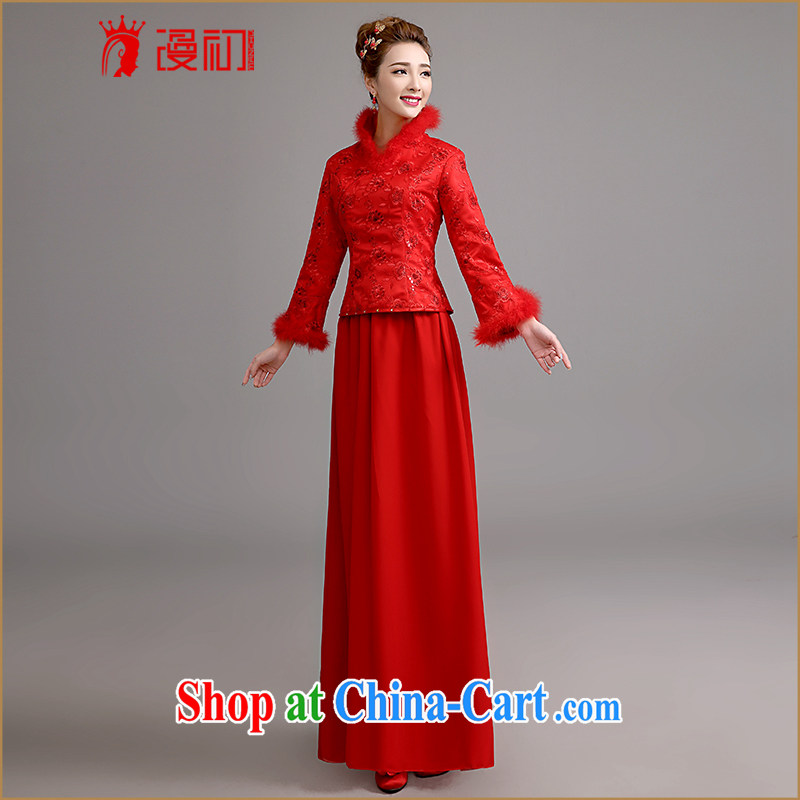 Early definition Bridal Fashion 2015 new long-sleeved winter clothing wedding dresses winter toast serving thick dress Long Red Red XXL code