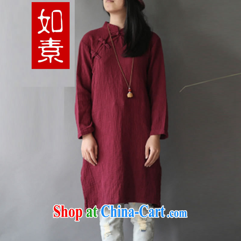 If pixel retro dresses of Chinese literature and art wind of nostalgia is withholding the flap and put under the forklift truck Solid Color cheongsam dress 2433 wine red are code