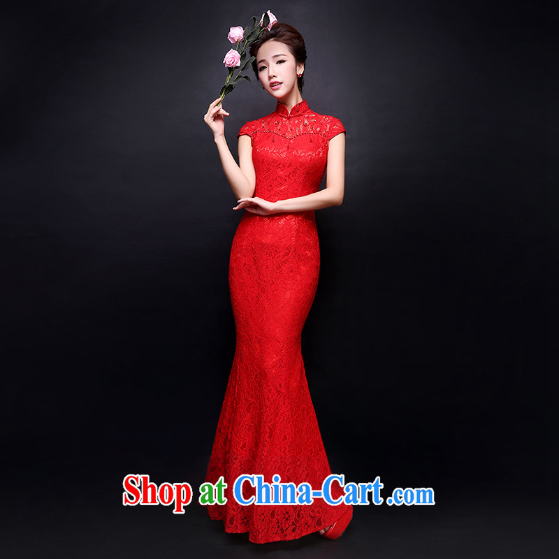 Donald Rumsfeld, the more than 2015 summer new bride toast wedding clothes dresses retro lace bows service improvement at Merlion long cultivating crowsfoot dress cheongsam red XL