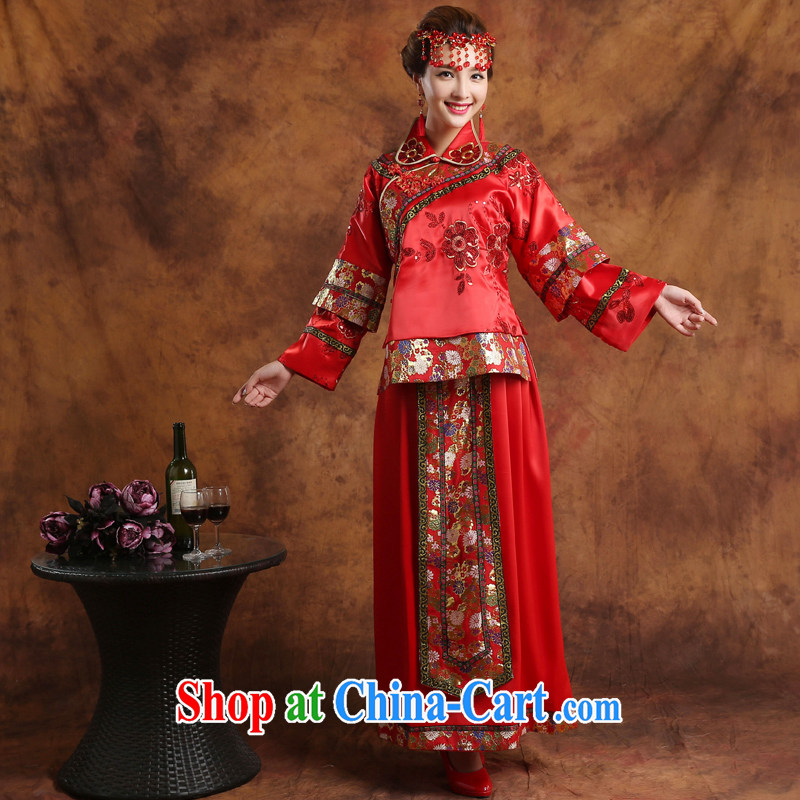 Wei Qi toast clothing summer 2015 new bridal wedding dresses red toast serving Chinese style wedding dresses long-sleeved Sau wo service use phoenix retro woman pregnant red XXL
