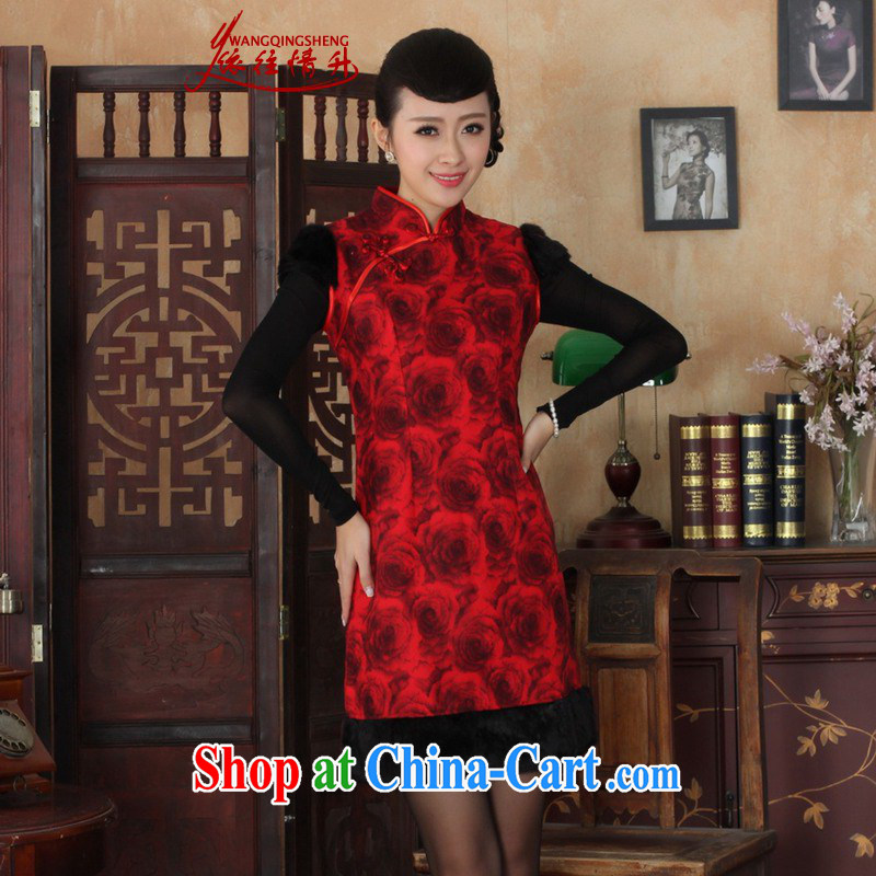In accordance with the situation in winter new improved qipao, for a tight poster sleeveless beauty dress cheongsam dress in figure 2 XL