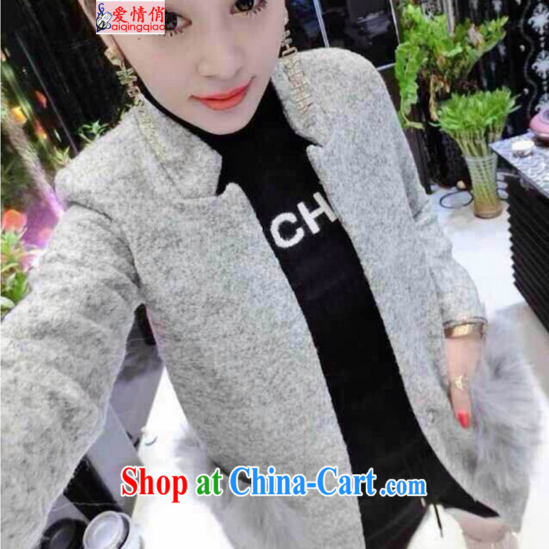 fall and winter Korean jacket long hair so jacket girls thick Fox hair pocket? The coat N 6076 light gray L