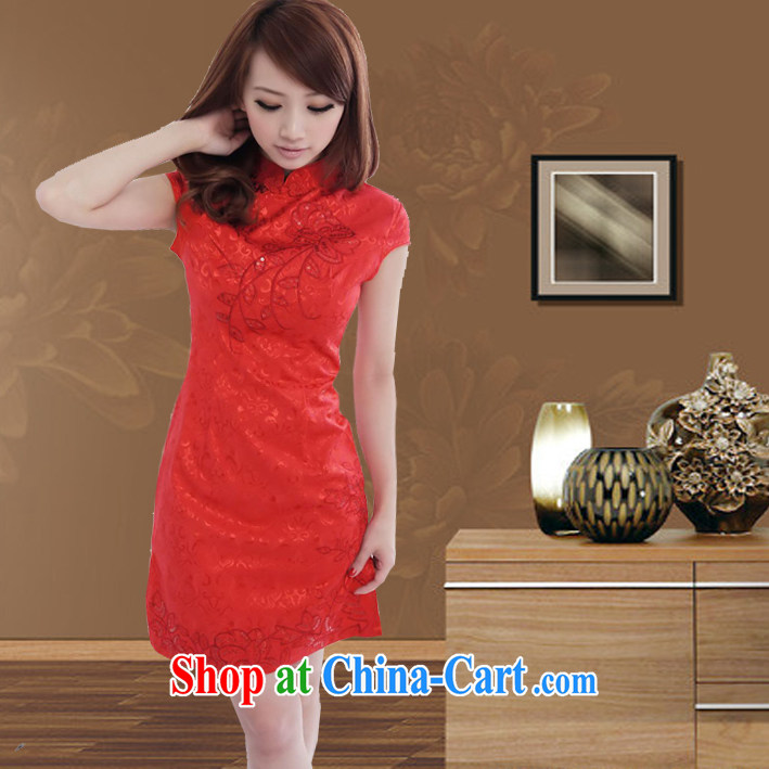 2014 summer bridal wedding dresses Chinese Antique improved cheongsam dress uniform toasting red embroidery cheongsam dress red XL large 2 CM