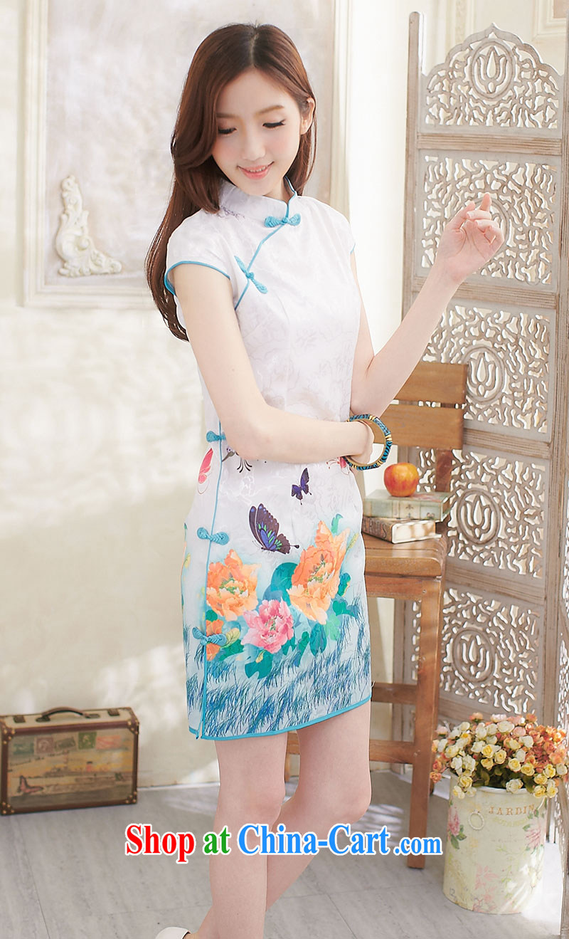 Summer 2014 new dresses, stylish and improved white peony flowers daily fresh girls Chinese Dress Butterfly Dream pink XL pictures, price, brand platters! Elections are good character, the national distribution, so why buy now enjoy more preferential! Health