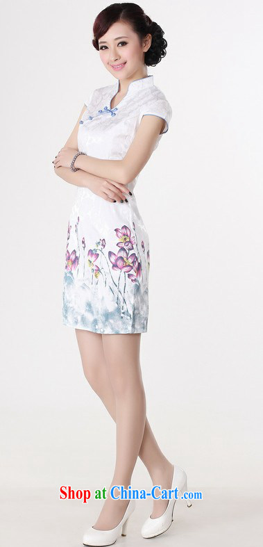 2014 summer fashion cheongsam dress retro Ethnic Wind beauty improved water the lotus white outfit I would be grateful if green XXL
