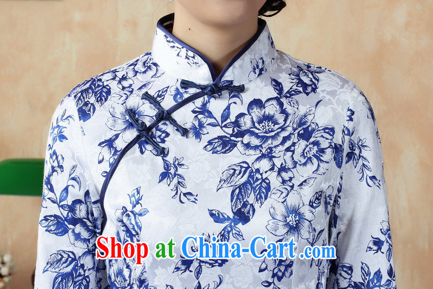 Chinese blue and white porcelain cheongsam short spring improved Stylish retro beauty in autumn mother cuff cheongsam dress blue and white porcelain XXL