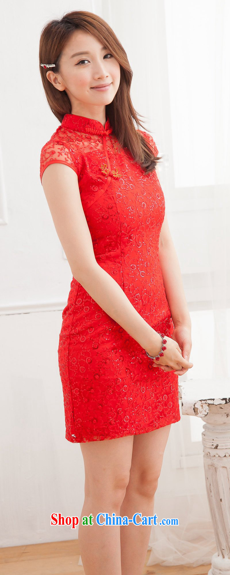 Summer new 2014 lace cheongsam red bridal dresses short wedding toast service wedding dress red XL pictures, price, brand platters! Elections are good character, the national distribution, so why buy now enjoy more preferential! Health
