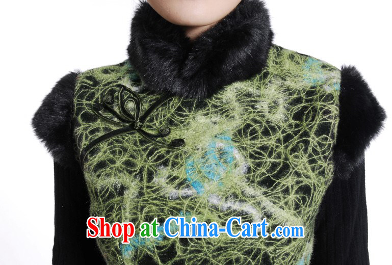 Wool is stylish and improved 2014 winter clothes new cotton cheongsam Chinese wool for winter vest cheongsam dress green XXL