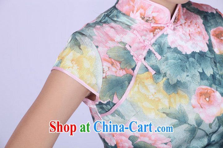 2014 summer new improved stylish daily ethnic wind Chinese cheongsam peony flower girl dresses light green XXL