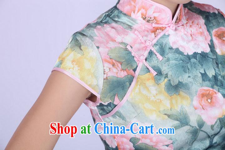 2014 summer new improved stylish daily ethnic wind Chinese cheongsam peony flower girl dresses light green XXL