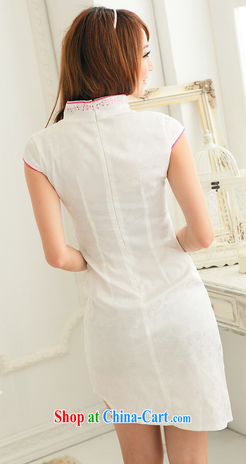 Summer 2014 new V collar embroidered cheongsam beauty graphics thin improved girls with a white cheongsam dress purple S