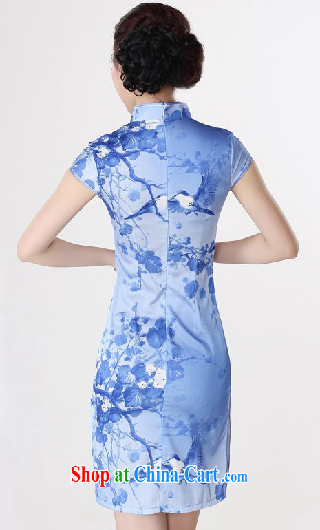 Improved stylish short-sleeve dresses summer Chinese daily stamp cultivating short retro large code cheongsam dress pale yellow XXL