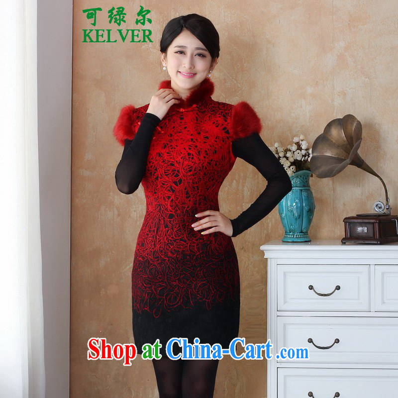 To Green, the winter new female Chinese qipao damask edges, stamp duty for cheongsam dress - 10 _3 XL