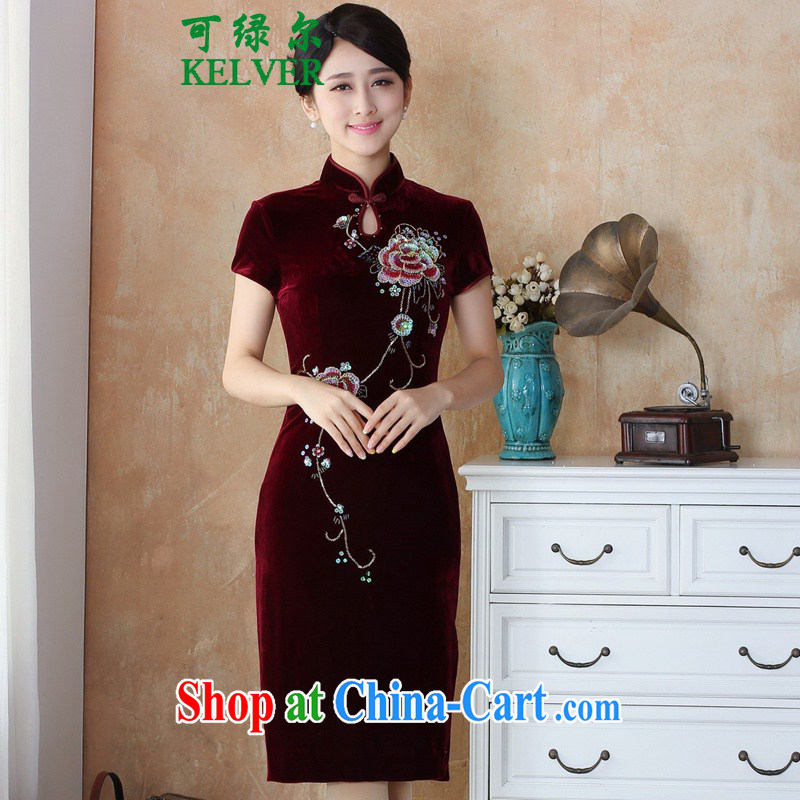 To Green, autumn and winter new female Chinese cheongsam Silk Velvet manually staple pearl cultivation, long cheongsam dress - 3 _4 XL