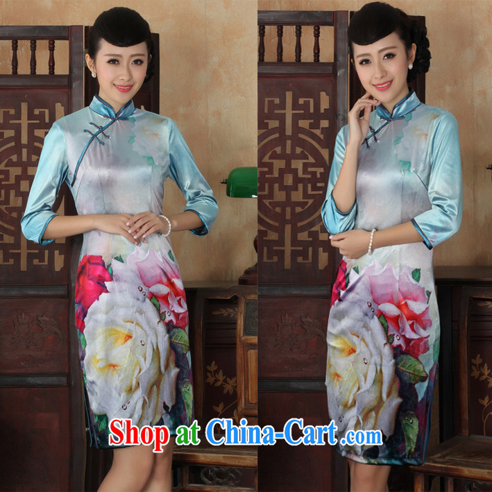 The velvet cuff cheongsam dress digital peony flowers elegant Stretch Wool day 7 sub-cuff large code cheongsam picture color XL