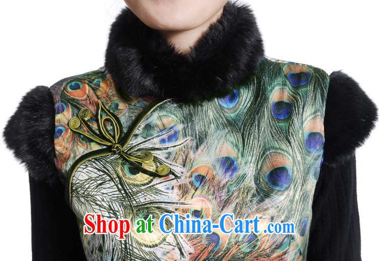 winter clothes New Phoenix cotton cheongsam dress stylish Peacock winter daily improved folder cotton robes as shown _true population generally feels_ XXL