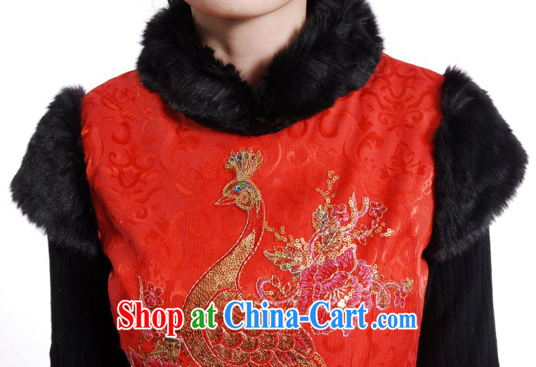 Phoenix embroidery cheongsam wedding winter clothing new, Retro folder cotton cheongsam dress stylish bows. Red XXL