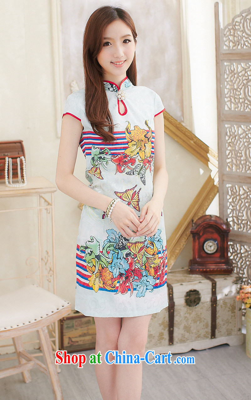 Modern improved cheongsam summer New Beauty cheongsam dress everyday dresses short girls butterfly blue XL pictures, price, brand platters! Elections are good character, the national distribution, so why buy now enjoy more preferential! Health