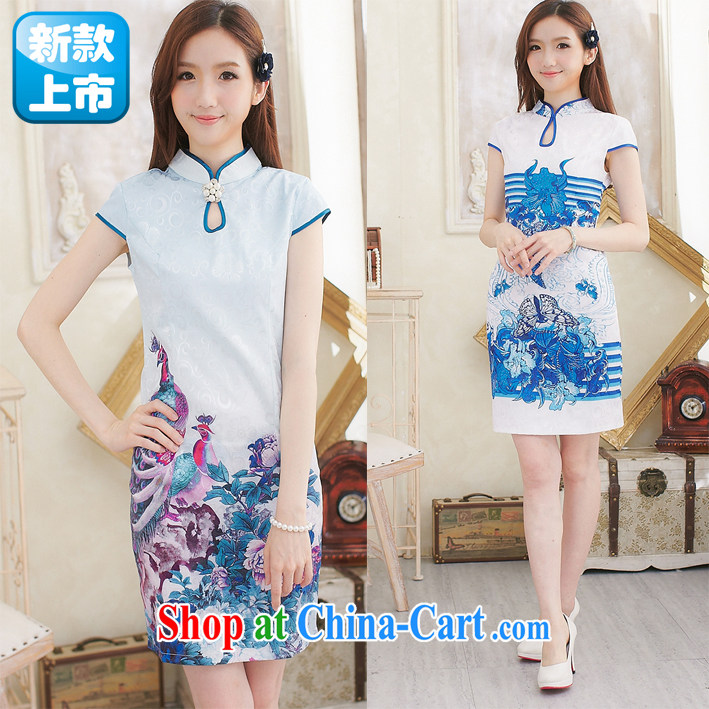 Stylish and improved cheongsam summer new cultivating cheongsam dress daily outfit short girls butterfly blue XL