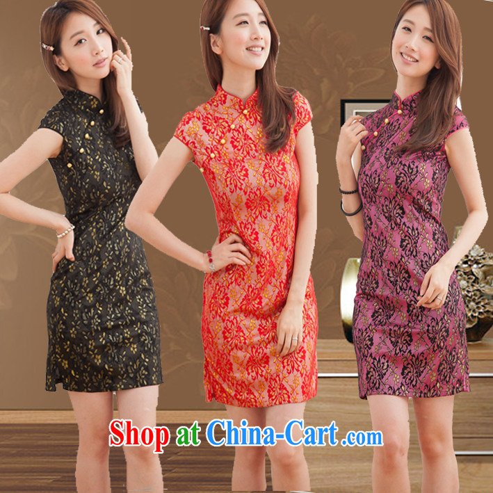 Summer dresses bridal wedding dress improved stylish red lace bows clothing cheongsam dress bridesmaid clothing red S