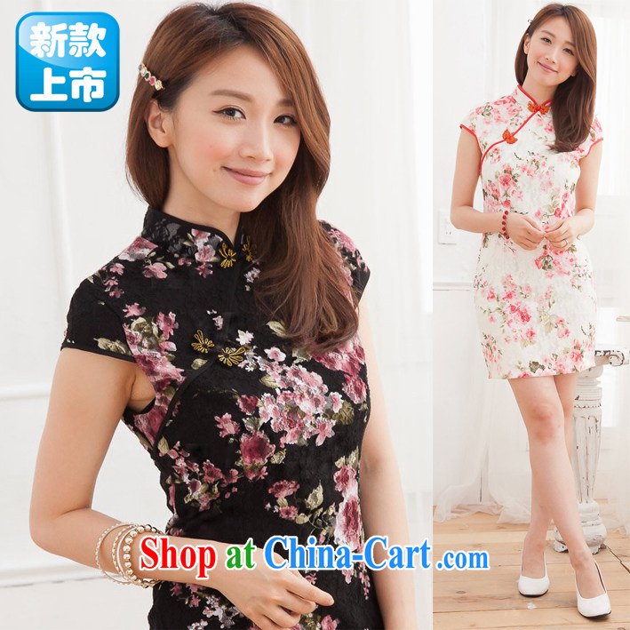 black lace cheongsam dress summer new improved stylish sexy beauty package and cheongsam white XL