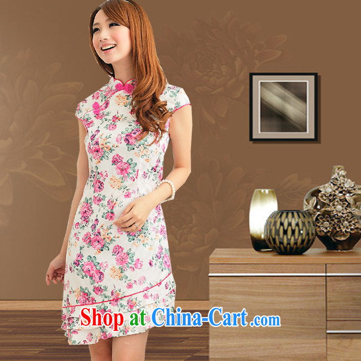 cheongsam dress summer New Layer 3 flouncing improved non-Lao girls modern-day outfit short sleeved pink S