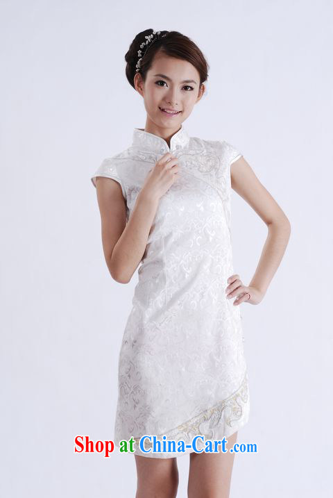 Dresses summer new stylish improved jacquard cotton is the beauty girls Chinese qipao dress white XL other pictures, price, brand platters! Elections are good character, the national distribution, so why buy now enjoy more preferential! Health