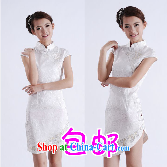 Dresses summer new stylish improved jacquard cotton is the beauty girls Chinese qipao dress white XL other