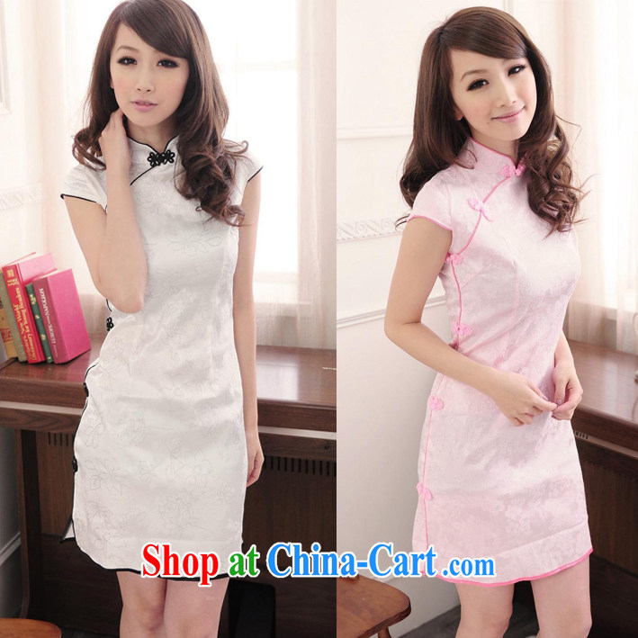 cheongsam dress summer dresses Stylish retro girls cotton Daily Beauty graphics thin Chinese qipao-yi skirt pink (physical color pictures than deep) XL