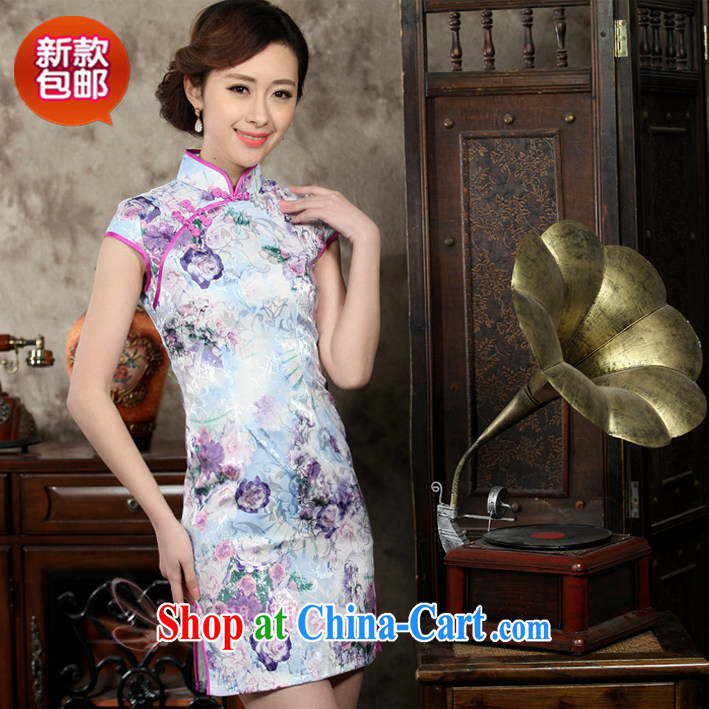 Summer outfit with new, improved and stylish women's clothing stamp duty cultivating graphics thin ethnic wind summer cheongsam dress suit XXL