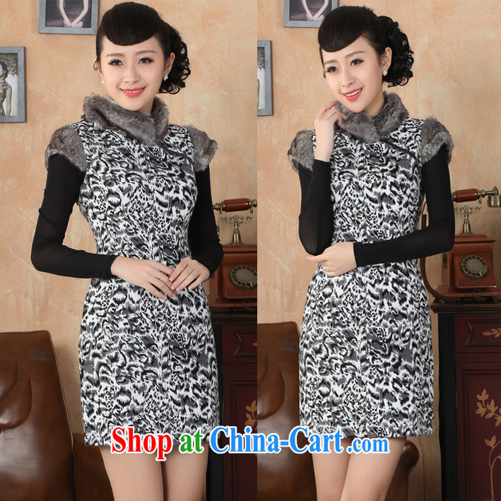 Stylish autumn and winter clothing New Style folder cotton improved daily maximum code Tang women cheongsam dress suit XL