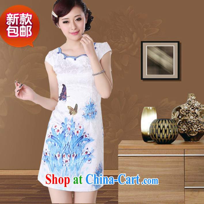 New summer dresses and stylish white round collar short-sleeved butterfly stamp girls short cheongsam dress white XXL