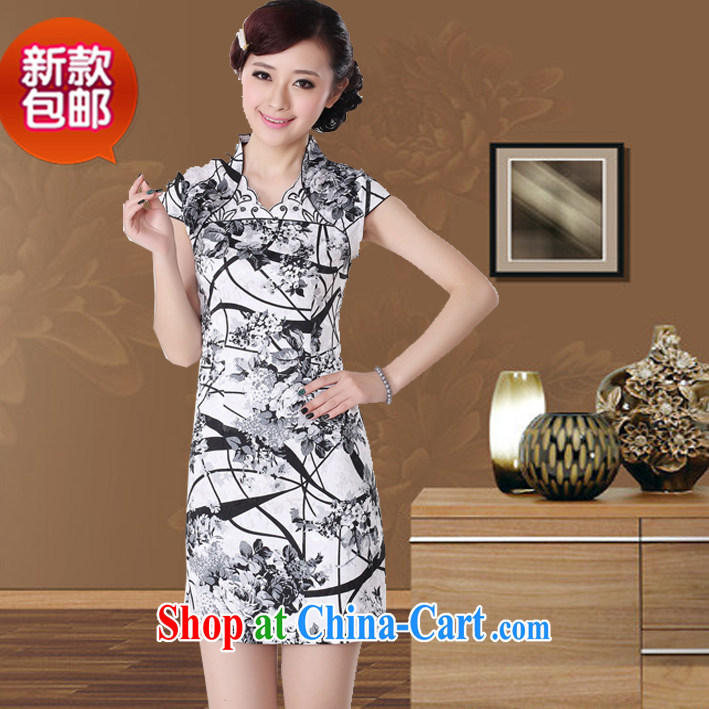 cheongsam dress summer stylish new cultivating short-sleeve retro-day gathering, qipao dress picture color XXL