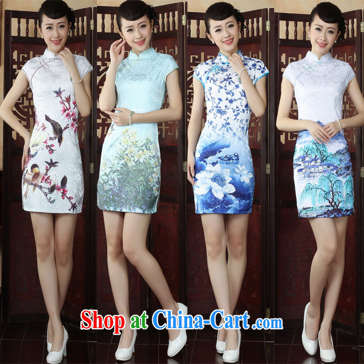 Lotus cheongsam dress autumn new autumn fashion improved retro lady larger dresses 49 L