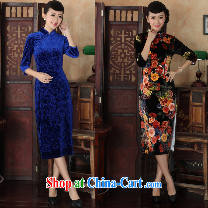 2015 new spring dresses everyday elegant antique autumn wool long, long-sleeved qipao Dress Suit digital XL