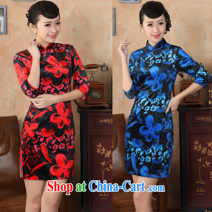 Spring 2015 new velvet cheongsam improved retro elegance velvet cuff middle-aged mother cheongsam dress red floral XL