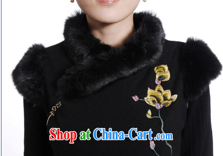 New cotton robes black hair clip cotton cheongsam stylish improved fall and winter, What gross cheongsam dress black XXL