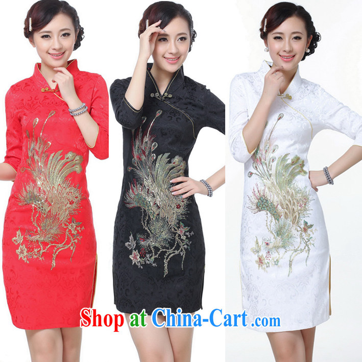 Spring new cuff in cheongsam stylish improved Phoenix cheongsam bridal toast service wedding dress white XXL
