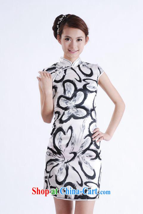 cheongsam dress summer stylish emulation Silk Cheongsam stylish improved daily short large code cheongsam dress D XXL 0180