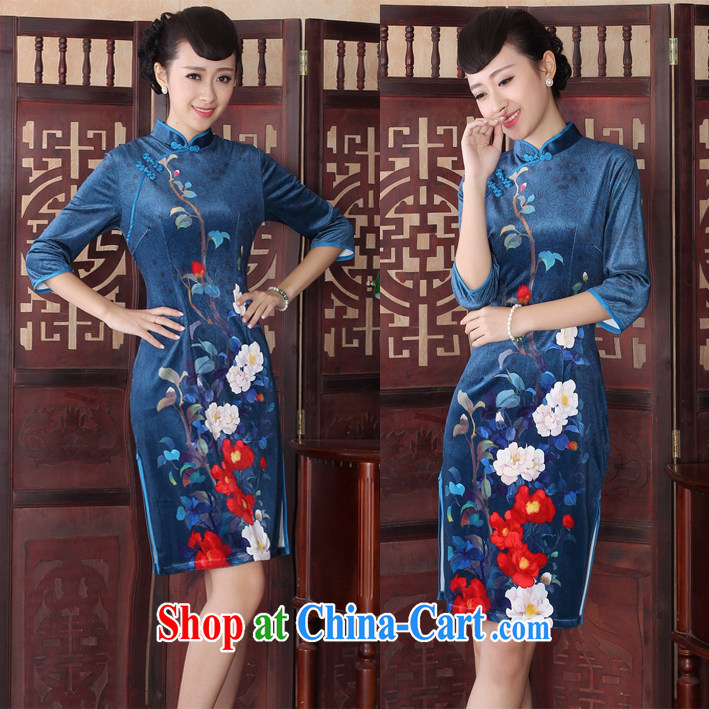 The fall in stylish cuff wool dresses retro short digital stamp the code cheongsam dress picture color XL