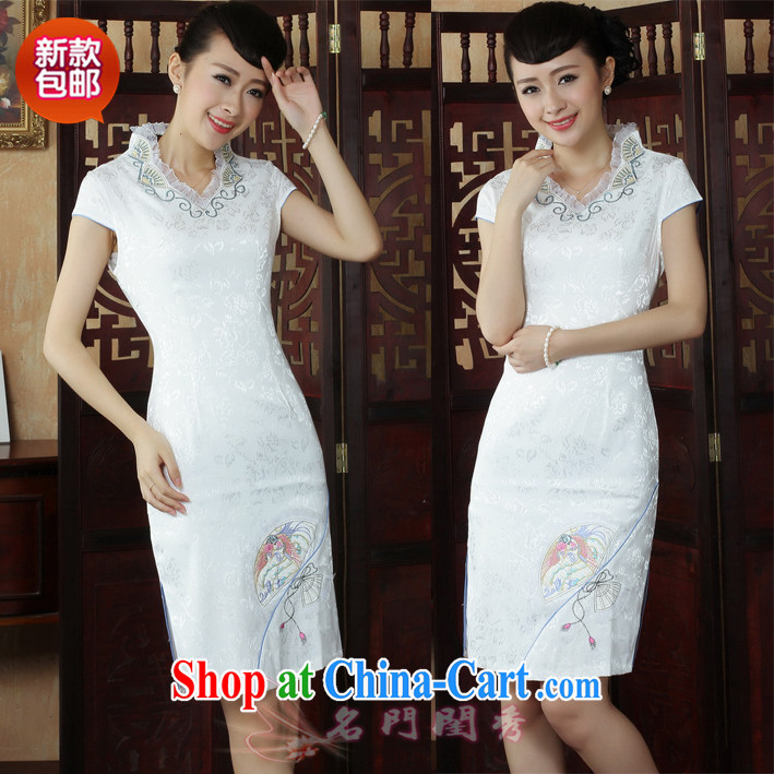 V collar cheongsam dress summer fashion new summer improved daily female dresses short dresses beauty white XXL