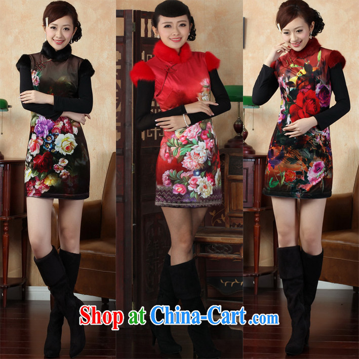 Dresses winter clothes in winter, warm hair so thick hair for improved day-vest cheongsam dress red XL