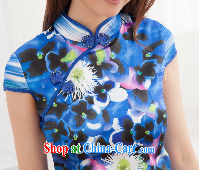 New summer outfit, improved cultivation and stylish lounge stamp daily improved short cheongsam dress blue S pictures, price, brand platters! Elections are good character, the national distribution, so why buy now enjoy more preferential! Health